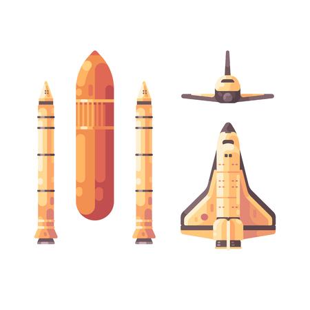 Space shuttle elements flat illustration Ilustração