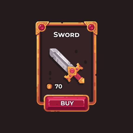 Fantasy game weapon shop UI illustration. Medieval sword game card.