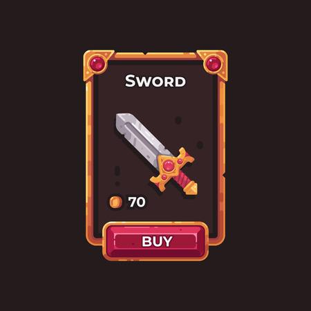 Fantasy-Spiel Waffenladen UI-Illustration. Mittelalterliche Schwertspielkarte. Vektorgrafik