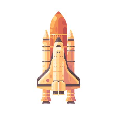 Space shuttle flat illustration. Orange spaceship icon.