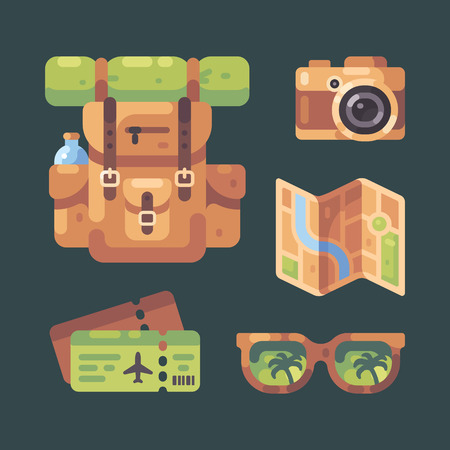 Travel item set. Tourist backpack, camera, city map, plane tickets and sunglasses. Summer vacation flat illustration.