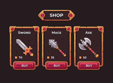 Concetto di negozio di armi del gioco di fantasia. Illustrazione del telaio dell'interfaccia utente del negozio di giochi.