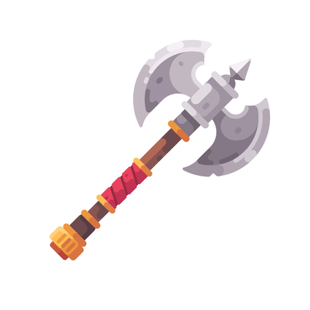 Medieval fantasy axe flat icon. Game weapon illustration.