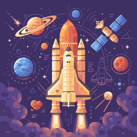 Weltraumerkundungskonzept. Raumobjekte flache Illustration. Hintergrund des Shuttle-Starts Vektorgrafik
