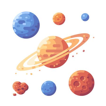 Set of planets flat illustration. Space objects flat icons. Ilustração