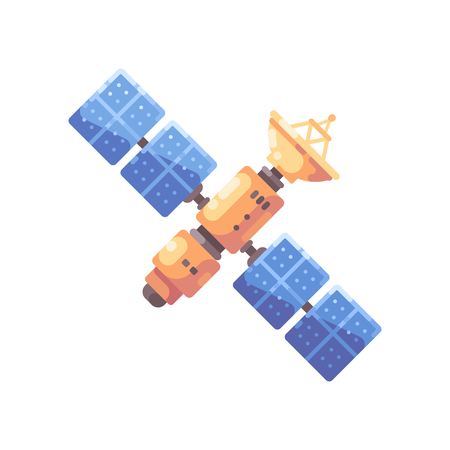 Colorful space satellite illustration. Space technology flat icon.