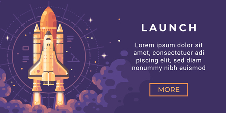 Space exploration banner flat illustration. Astronomy banner with a space shuttle launch.