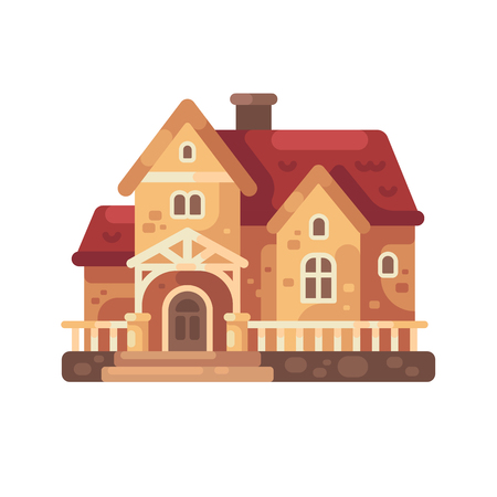 Cottage with a red roof flat illustration. Country house icon Ilustrace
