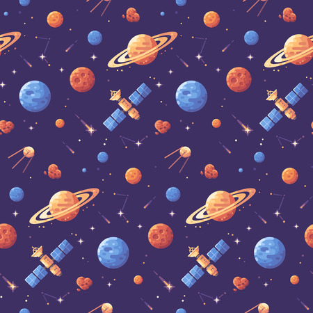 Space icons seamless pattern. Space exploration purple background