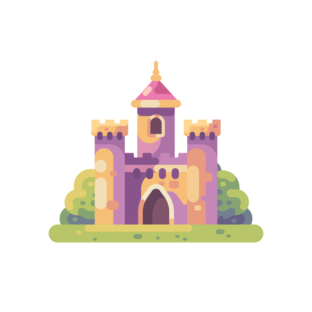 Cute little fairy tale castle flat illustration.