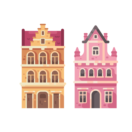 Set of two old city buildings. House facades flat illustration