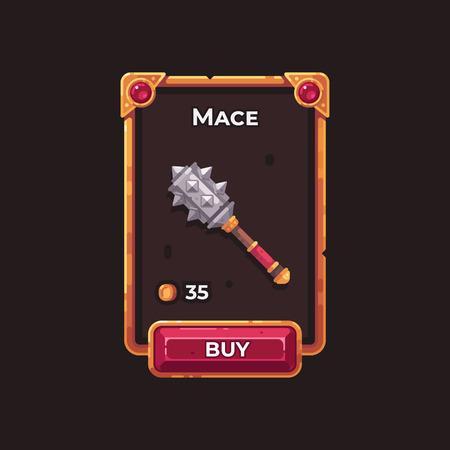 Fantasy game weapon shop UI illustration. Battle mace game card.