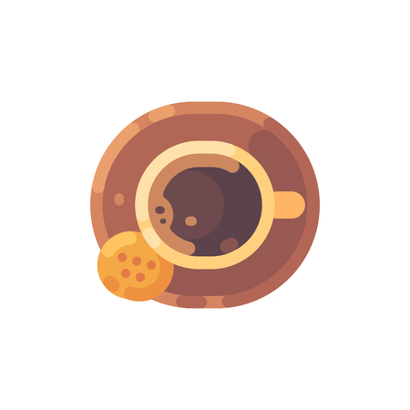 Cup of coffee with a cookie top view flat illustration.