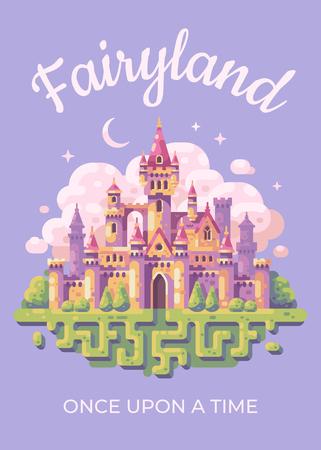 Fairy tale castle flat illustration poster. Fairyland kid book cover concept. Ilustrace