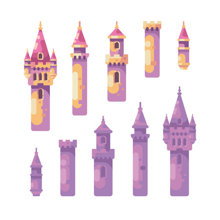 Fairy tale castle constructor. Set of medieval castle towers.