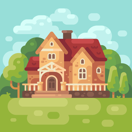 Big country house flat illustration. Modern country home background.