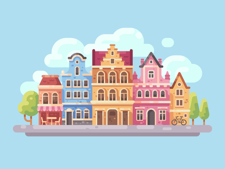 Bright city street with old buildings and cafes flat illustration. European city background.