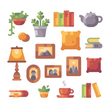 Interior object set flat illustration. Home decor icon collection.