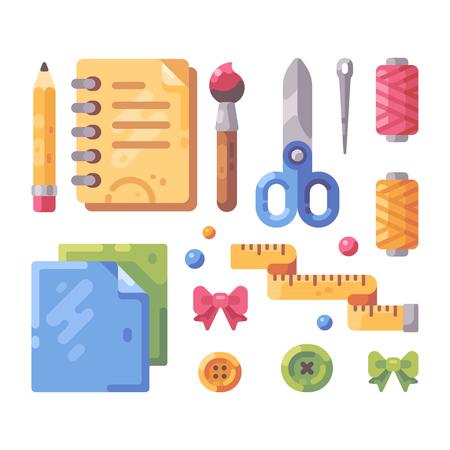 Set of art and craft supplies flat illustration.