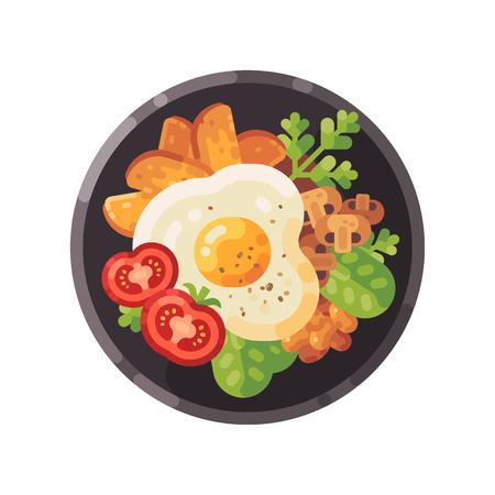 Tasty breakfast flat illustration. Dish with omelet, tomatoes, fried potatoes, mushrooms and salad. Illustration