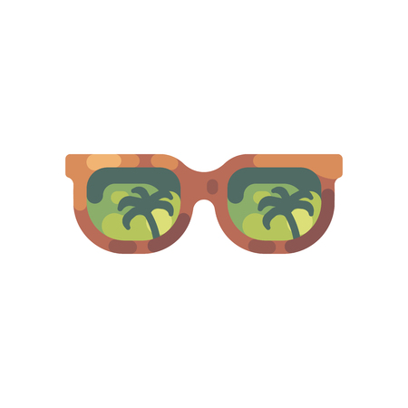 Sunglasses with palm trees reflection. Summer flat icon