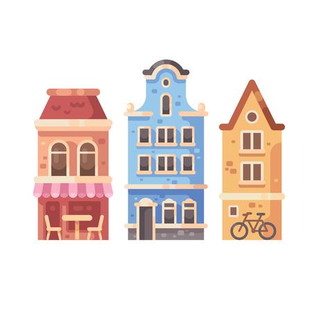 Set of three old city buildings. House facades flat illustration Ilustrace