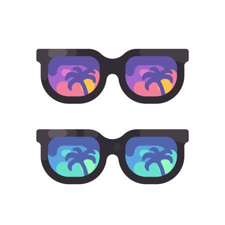 Purple and blue sunglasses with palm trees reflection. Hot summer flat icon