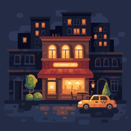 Cozy night street two-story cafe scene flat illustration. Evening city street background. Ilustrace