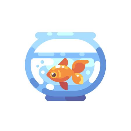 Fish tank flat icon. Round aquarium with goldfish flat illustration. Ilustrace