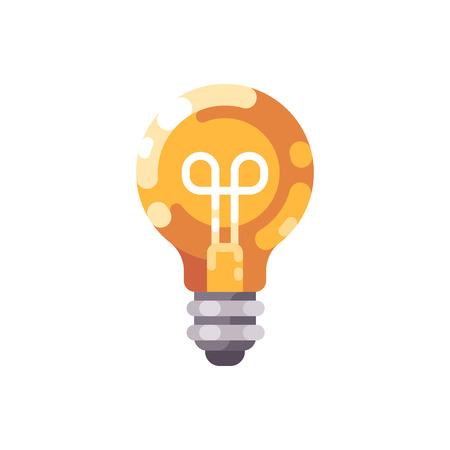 Shiny light bulb flat icon. Ilustrace