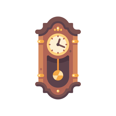Old wooden grandfather clock flat icon. Antique furniture illustration. Illustration