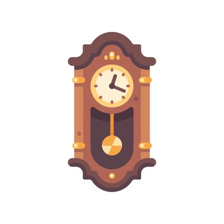 Old wooden grandfather clock flat icon. Antique furniture illustration. Illustration