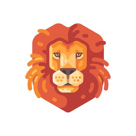Lion head flat icon. Wild animal illustration Ilustrace