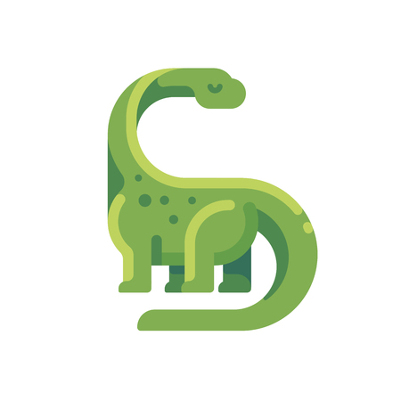Green diplodocus flat icon. Long necked herbivorous dinosaur character illustration. Stock Vector - 105717583