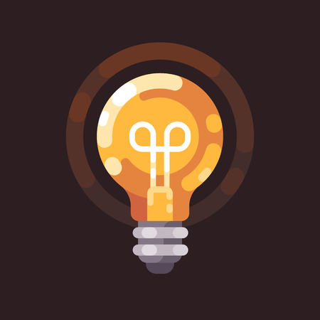 Light bulb shining in the dark flat illustration. Ilustrace