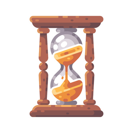 Antique wooden hourglass flat icon.