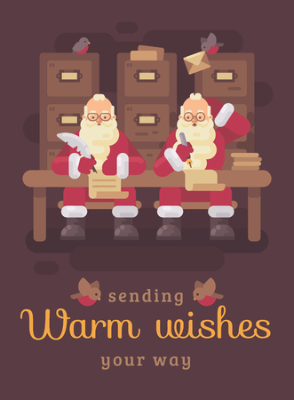 Two Santa Clauses writing letters to kids. Santa thinking of a response to a child's letter. Christmas flat illustration greeting card Reklamní fotografie - 127727309