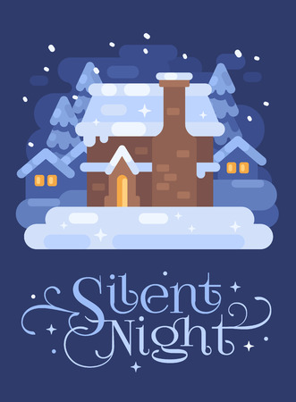 Snowy blue winter village landscape with a house. Silent Night Christmas flat illustration Reklamní fotografie - 127727310