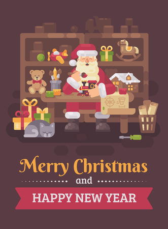 Santa Claus sitting at the desk in his workshop making toys for kids. Christmas flat illustration card
