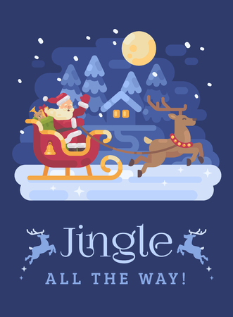 Happy Santa Claus riding in a sleigh drawn by reindeer across a snowy night winter village landscape. Christmas flat illustration card Reklamní fotografie - 127727311