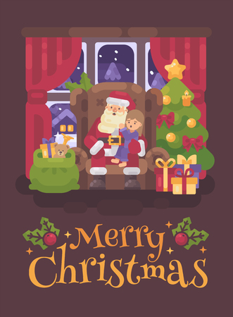 Santa Claus sitting in a chair in a cozy room with a little girl in his lap whispering into his ear. Christmas character greeting card flat illustration