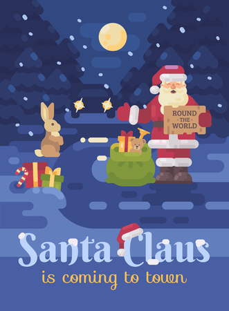 Santa Claus lost his sleigh and reindeer and is hitchhiking on the road to deliver presents to children. Christmas flat illustration card