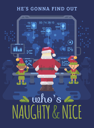 Santa Claus and his elves at Santas control room looking at a big screen with interactive map of naughty and nice children around the world. Christmas flat illustration card