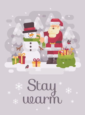Happy Santa claus giving a scarf to a cute snowman. Christmas flat illustration greeting card