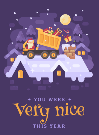 Santa Claus in a yellow tipper truck on a rooftop unloading presents into the chimney of a very nice kid. Christmas character illustration greeting card Ilustrace