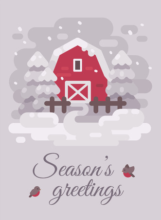 Red barn with trees in a winter country landscape. Christmas greeting card flat illustration. Seasons greetings Ilustração