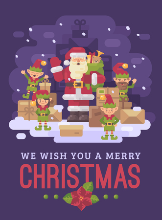 Santa Claus delivery service. Santa with a team of elves and a pile of parcels and presents on a snowy winter night. Christmas characters greeting card flat illustration Ilustrace