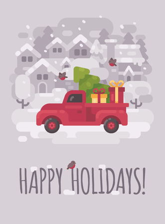 Old red farm truck with a Christmas tree and presents in a winter village. Christmas greeting card flat illustration. Happy holidays