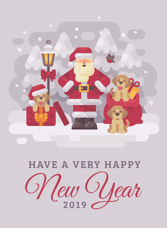 Cheerful Santa Claus with cute puppies Christmas greeting card flat illustration. Have a very happy New Year