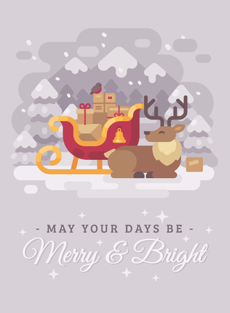 Happy Santa Claus reindeer lying down near a sleigh with presents. Christmas greeting card flat illustration. May your days be merry and bright Ilustrace